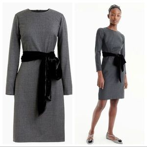 J Crew Grey Velvet Sash Belted Long Sleeve Dress